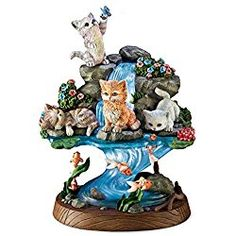 Cat Sculpture with Lighted Base by Artist Jurgen Scholz: A Purrfect Day by The Bradford Exchange