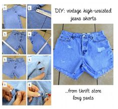 DIY High waisted shorts. Buy from thrift store
