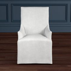 Belvedere Slipcovered Dining Armchair, Chunky Linen, Solid, Natural