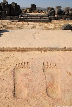 It is still unknown whose footprints these were meant to represent.  Some scholars have suggested they are animal prints, while others have suggested they depict the footsteps of the gods. Perhaps, these footprints (measuring about a metre in length) were meant to be an iconic representation of the resident deity. These footprints may have been carved to show the presence of the resident deity as he/she entered his/her temple and approached the throne in the inner sanctum