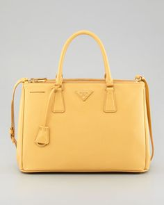 Saffiano Small Double-Zip Executive Tote Bag, Pale Yellow by Prada at Neiman Marcus.