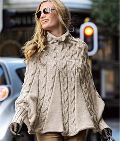Knitting Pattern for Cable Poncho - Stunning use of cables in this cuffed poncho from Bergere de France. Size: S/M L/XL/XXL.