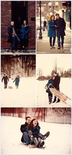 Fun idea - sledding for an engagement shoot! For Winter shoot - I LOVE the sledding picture!!!