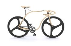 """Thonet Bike"" is a concept of wooden fixie bike created by designer Andy Martin in collaboration with Thonet. Equipped with carbon fiber wheels, this Wooden Bicycle, Wood Bike, Motos Sexy, Bike Craft, Hot Bikes, Cool Bicycles, Bicycle Design, Bent Wood, Bending Wood"