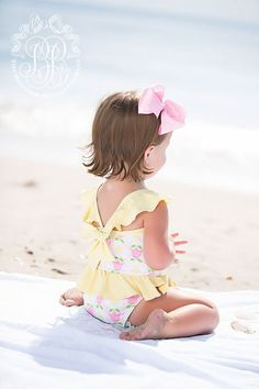 Lucia Swimsuit - Fairhope Flowers with Seaside Sunny Yellow Little Babies, Cute Babies, Little Girls, Baby Kids, Baby Boy, Beach Babies, Baby Girl Fashion, Kids Fashion, Toddler Fashion