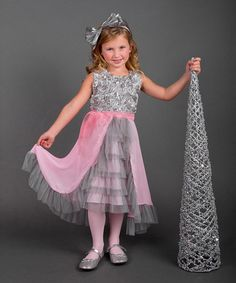 Loving this Pink & Silver Rosette-Bodice Dress - Toddler & Girls on #zulily! #zulilyfinds