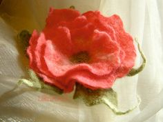 Luscious and delicate ROSE flower brooch and hair clip by LanAArt