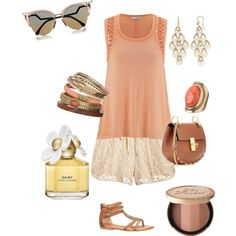 Peach and Gold by danica-nava on Polyvore featuring polyvore fashion style maurices Chloé Roberto Coin Wallis Fendi Marc Jacobs