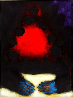 A Fire Cave, 1981, William Scharf, acrylic on paper, sheet: 9 x 11 7/8 in. (22.9 x 30.3 cm), Smithsonian American Art Museum, Gift of anonymous donors, 1986.7.5