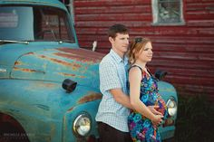 Maternity photo with vintage blue truck on an old farm  A Summer Sunset Maternity Session-Edmonton Maternity Photographer » Michelle Jackson Photography: Edmonton newborn photographer, Edmonton ma...