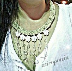 Χειροποίητο πλεκτό κολιέ με βελονάκι  Χειροποίητα κοσμήματα Jewelry, Fashion, Jewellery Making, Moda, Jewels, Fashion Styles, Jewlery, Jewerly, Fashion Illustrations