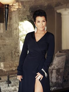 Leggy lady: Kris Jenner looked elegant wearing a thigh-baring Christian Siriano gown for an Haute Living spread shot by John Russo at her Hidden Hills home