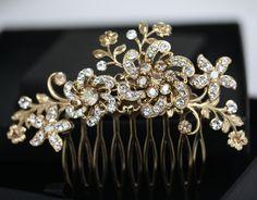 Gold Flower Hair Comb, Bridal Headpiece in Swarovski Crystal, Wedding Hair Accessories, Golden Shadow Rhinestone