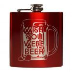 E-Volve Hip flask - - Stainless Steel - Mat Red - Wish you were beer Drinkware, Barware, Screw Caps, Good Times Roll, Custom Engraving, Flask, Wish, Beer, Stainless Steel