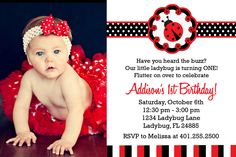 Ladybug Birthday Party Invitations.