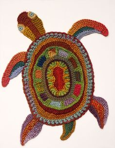Freeform crocheted Turtle  on framed canvas