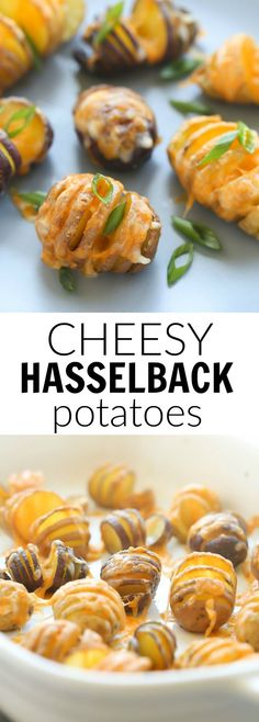 "These Little Cheesy Hasselback Potatoes are a fun side dish or appetizer! They take less time to bake and are more ""poppable"" than large potatoes so they're perfect for kids!"
