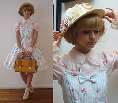 Vintage Canotier, H&M All Flowers, H&M Butterflies, Angelic Pretty Sheep Garden Blue Jsk, Baby The Stars Shine Bright Pink Blouse, Baby The ...