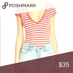 Free People Red and White Striped Avery Tee BRAND NEW only worn once in my home and I took the tags off and changed last minute so it actually has never been worn like new Free People Tops Tees - Short Sleeve