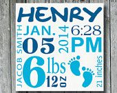 Personalized Baby Birth Announcement Sign,Child's Birith Information,Nursery Art Decor for Baby,Baby Sign,Baby Shower,Custom Wood Sign