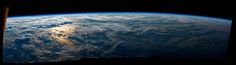 """Expedition 48 Commander Jeff Williams of NASA shared this sunrise panorama taken from his vantage point aboard the International Space Station, writing, """"Morning over the Atlantic…this one will hang on my wall."""""""