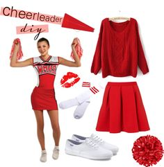 """Cheerleader DIY Costume"" by contrary-to-ordinary on Polyvore"
