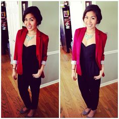 Outfit of the day. Urban Outfitters jumpsuit. Akira Blazer. Forever 21 necklace. H&M flats.