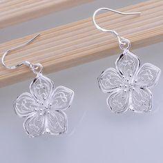 Petaline Shiny Hollow Silver Plated Earrings