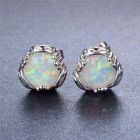 MKD 925 Elegant Sterling Silver White Fire Opal Stud 10 MM Earrings- G