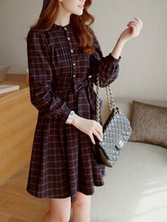 Cute Plaid Long Dress With Bowknot - Choies.com