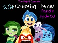 20 counseling themes found in inside out therapy tools, play therapy, thera Elementary School Counseling, School Social Work, School Counselor, Elementary Schools, Mental Health Counseling, Counseling Psychology, School Psychology, Career Counseling, Grief Counseling