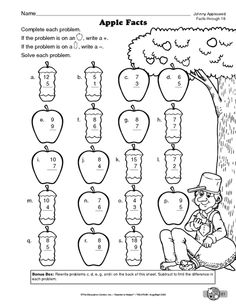 MATH WORKSHEET: ADDITION AND SUBTRACTION FACTS THROUGH 18 APPLE FACTS
