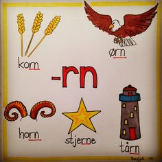 -rn Danish Language, Barn Crafts, Reading Words, Classroom Walls, Speech Therapy, Norway, Preschool, Teaching, Education
