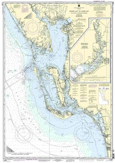 """NOAA Nautical Chart Estero Bay to Lemon Bay, including Charlotte Harbor;Continuation of Peace River is a standard navigation chart used by commercial and recreational mariners alike. Printed """"o Captiva Florida, Englewood Florida, Travel Map Pins, Travel Maps, Estero Bay, Gasparilla Island, Road Trip Map, Maps For Kids, Nautical Chart"""