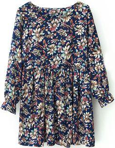 Navy Long Sleeve Vintage Floral Pleated Dress US$32.77
