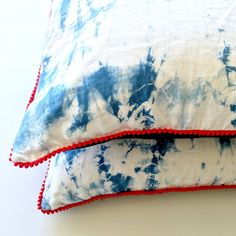 Almohada de lino Shibori   Amortiguador de cubierta grande, azul y blanco, Indigo Throw Pillow, Indigo almohada cubierta, Shibori cubierta de la almohadilla, almohadilla de tiro
