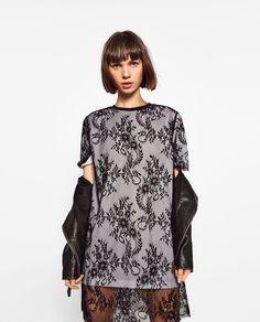 Image 1 of MIXED FABRICS LACE DRESS from Zara
