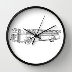 "Firetruck Patent Clock, Firetruck Clock, Modern Clock, The Firetruck Clock, Firetruck clock, modern clock, vintage Firetruck clock by STANLEYprintHOUSE  47.00 USD  Available in natural wood, black or white frames, our 10"" diameter unique Wall Clocks feature a high-impact plexiglass crystal face and a backside hook for easy hanging. Choose black or white hands to match your wall clock frame and art design choice. Clock sits 1.75"" deep and requi ..  https://www.etsy.com/ca/listing/24.."
