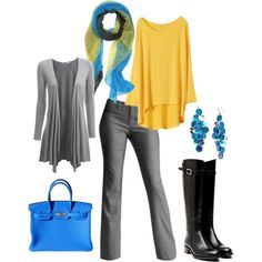 I'm loving gray and yellow lately. Stylish Work Outfits, Business Casual Outfits, Cool Outfits, Work Fashion, Fashion Outfits, Womens Fashion, Friday Outfit, Denim Outfit, Work Attire