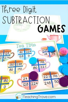 Place subtraction games with regrouping in your math center and make subtraction practice fun and engaging for your second and third grade students. These interactive math games get your kids to practice subtraction with multi-digit numbers and are perfect for homeschoolers too.#subtraction #subtractiongames