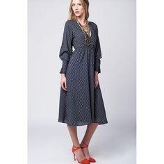 Navy midi dress with boho print and cuffs