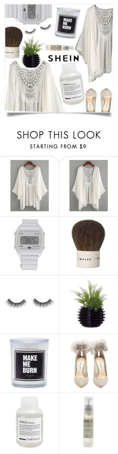 """""""SheIn contest - Lace Trimmed Crochet Insert Kimono"""" by violet-peach ❤ liked on Polyvore featuring adidas, Kent, Dot & Bo, Jimmy Choo, Davines and Le Labo"""