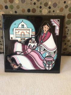 Vintage Cleo Teissedre Tile Trivet Wall Décor Woman w/Pots 1991 Black Native American Women, Native American Indians, American Indian Decor, Unique Vintage, Vintage Items, Wall Décor, Black Backgrounds, Etsy Store, Nativity