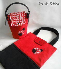 Conjunto: bolsa e porta lanche joaninha