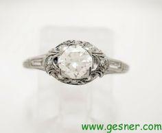 . Antique Diamond Vintage Art Deco/Edwardian Platinum Engagement Ring ...