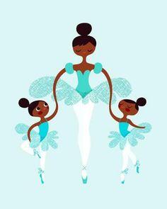 ballerina mommy and twins giclee print on fine art paper. by ThePaperNut on Etsy Black Girl Art, Black Women Art, Art Girl, African American Art, African Art, Black Dancers, Ballet, Arte Black, Black Artwork