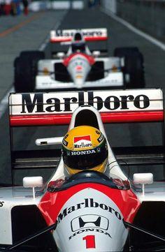 Ayrton Senna and Gerhard Berger in McLaren-Hondas at the 1991 Japanese Grand Prix. Lamborghini, Ferrari, Bugatti, Maserati, Alain Prost, Grand Prix, Sport Cars, Race Cars, Malboro