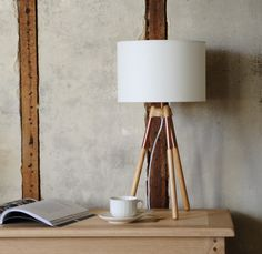 Tripod lamp, copper, lamp shade, rustic living, modern country living, bookazine