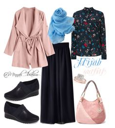 """""""#Hijab_outfits #modesty #Autumn #flowery"""" by mennah-ibrahim on Polyvore featuring Balenciaga, WithChic, Clarks and Allurez"""