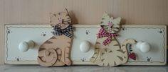 Kleiderhaken mit Katze aus Holz Breite: 20 cm  Landhausstil, Französische Dekoration